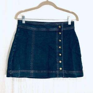 Free People Denim Snap up Skirt